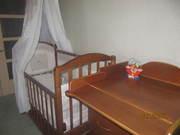 Детская кроватка,  береза,  продольный маятник + комод с пелен. столиком